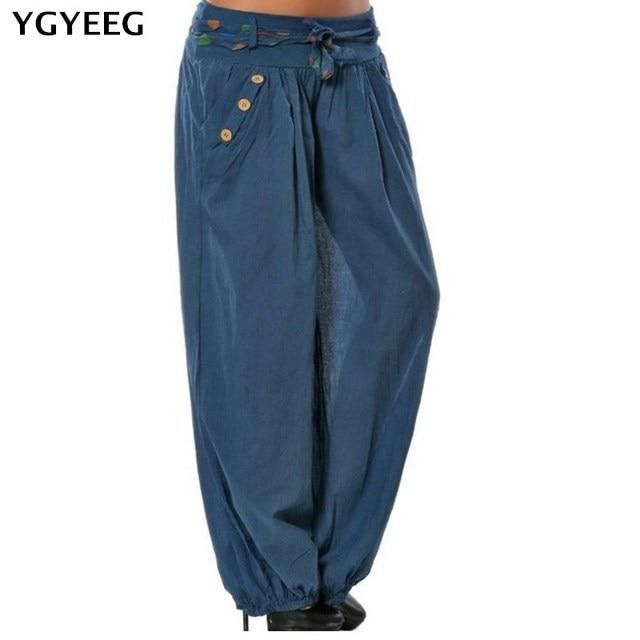 abecf0715df YGYEEG Women 2019 Summer Autumn Women Harem Pants Casual Loose Elastic  Waist Long Pants Leisure Trousers Army Green Plus Size