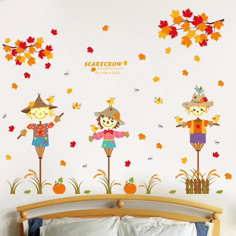 Kids Fall Wallpaper Shijuehezi Autumn Scarecrow Maple Leaf Wall Stickers For