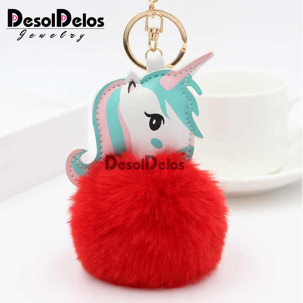 Bola de Pêlo de Coelho de alta Qualidade Pom Keychain Unicórnio Cavalo chaveiro porte clef pompom fofo Saco Anel Chave Do Carro chaveiros para As Mulheres