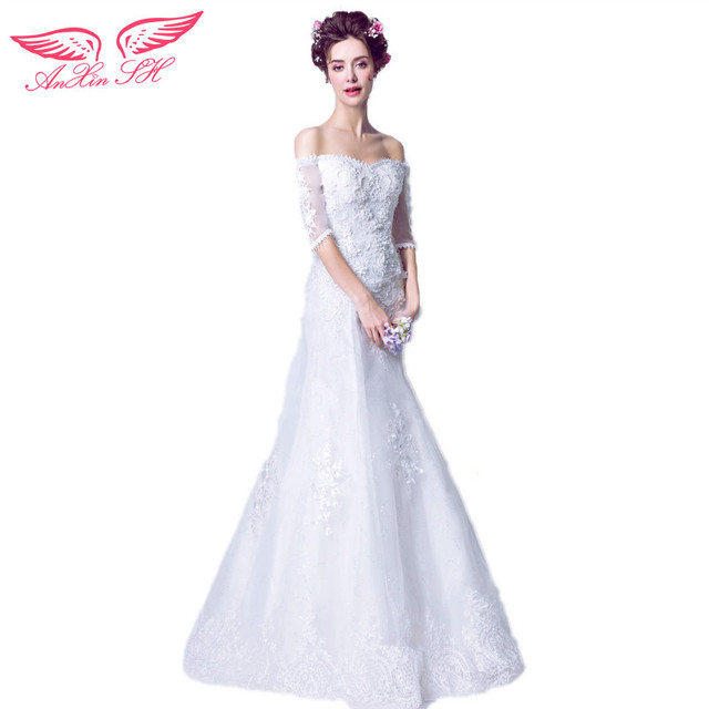 AnXin SH French style wedding dress sexy luxurious lace pearl ...