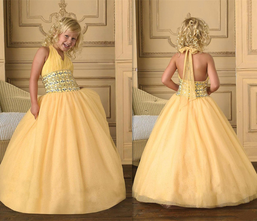 Yellow Little Girls Dresses 2018 Halter Flower Girl dresses Glitz Beading Ball Gown Kids Pageant Party Dress