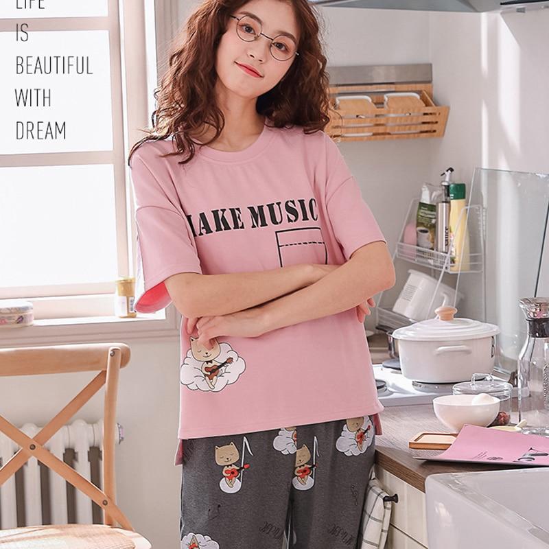 XCAMP Women Sleepwear Summer Clothes For Women Pajamas Set Calf- Length Pants Cotton Print Casual Style Women Nightgown 38