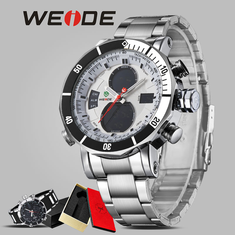 WEIDE luxury men  quartz watch stainless steel date digital led white round big dial water resistant watches automatic self-wind top brand luxury digital led analog date alarm stainless steel white dial wrist shark sport watch quartz men for gift sh004