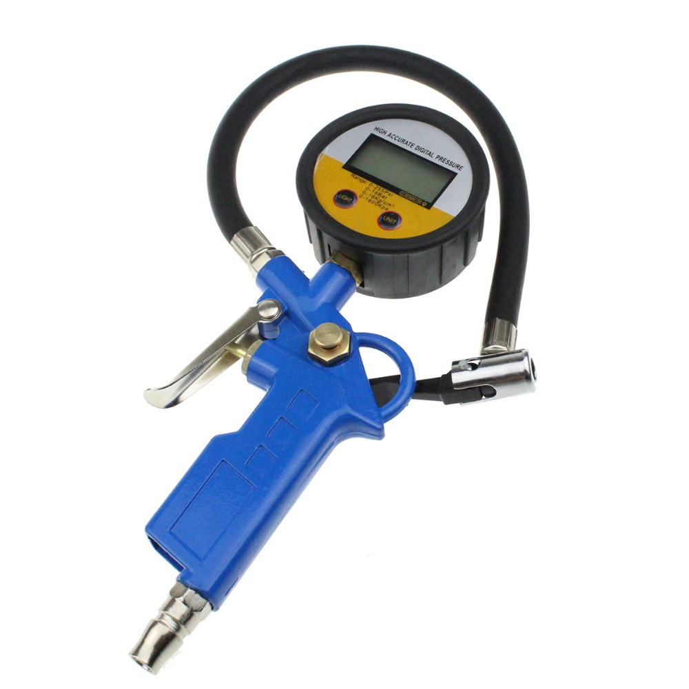 Digital Car Truck Air Tire Pressure Inflator Gauge LCD Display Dial Meter Vehicle Tester Tyre Inflation Gun Monitoring Tool portable pen style car tyre pressure tester gauge silver