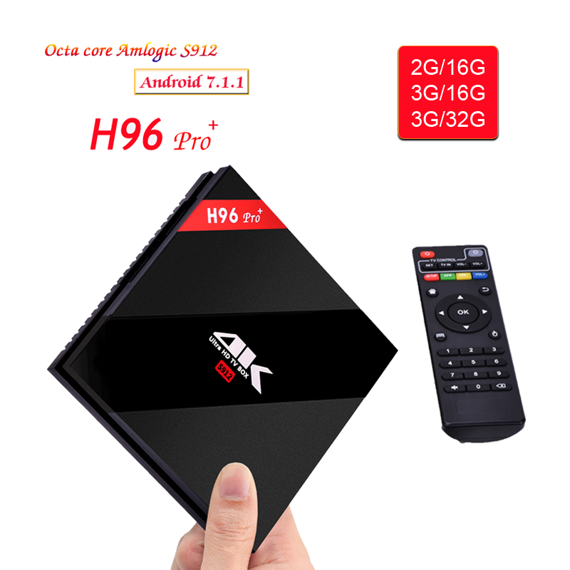 H96 Pro Plus TV Box Smart Android 7.1 S912 Bluetooth Octa Core 4K 3GB / 32GB 1000LAN 2.4G 5.0G WiFi Media Player PK X92 TX9 PRO