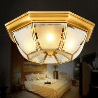 Europäischen led decke lampe voll kupfer lampe Amerikanische studie lampe warme schlafzimmer balkon retro beleuchtung-in Deckenleuchten aus Licht & Beleuchtung bei