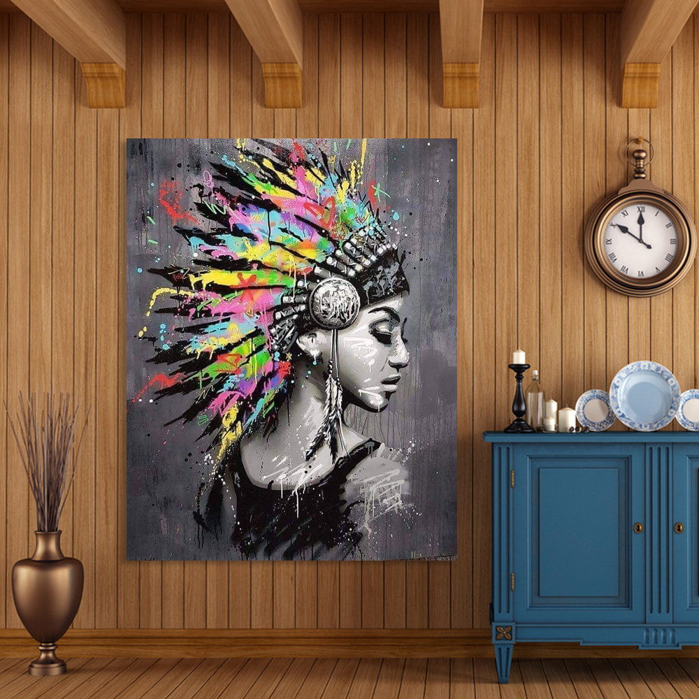 Fashion Style Black Curly Hair Woman Indian Feather Headdress Painting Canvas Wall Art Pictures For Living Room Home Decor
