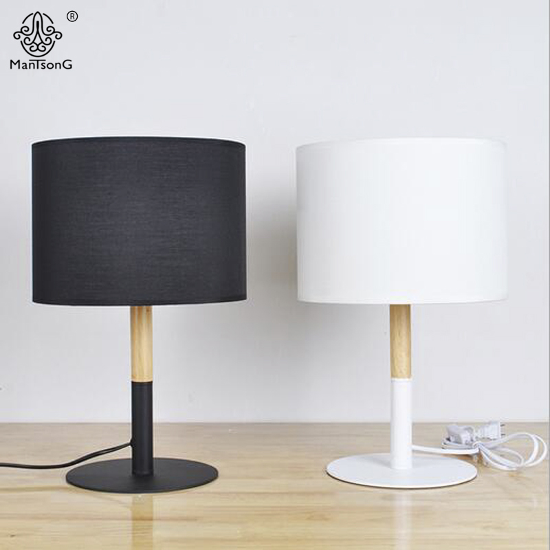 NEW Table Lamp Modern Key Switch E27 AC White/Black Fabric Lampshade Natural Osk Wooden Body For Bedroom Wood Reading Lighting