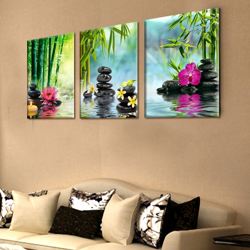 Painting On The Wall Art Decor SPA Stone Green Bamboo Pink 3 Panels ...