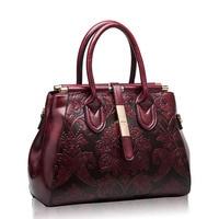 Women Bag Female Handbags 2017 New Genuine Leather Bag Designer Famous Brand Elegent Vintage Stylish Flowers