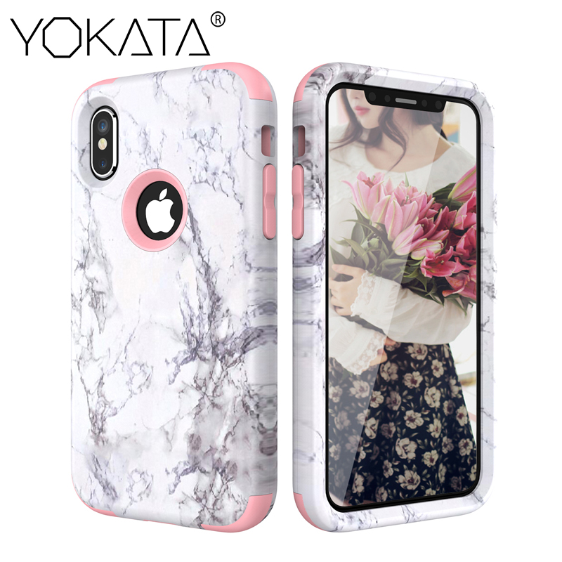 YOKATA Luxury Hard Marble PC Silicone Bumper Case for iPhone 6 6s 7 8 Plus for iPhone 5 SE X...  iphone x cases 360 YOKATA Luxury Hard Marble PC Silicone Bumper font b Case b font for font b iPhone