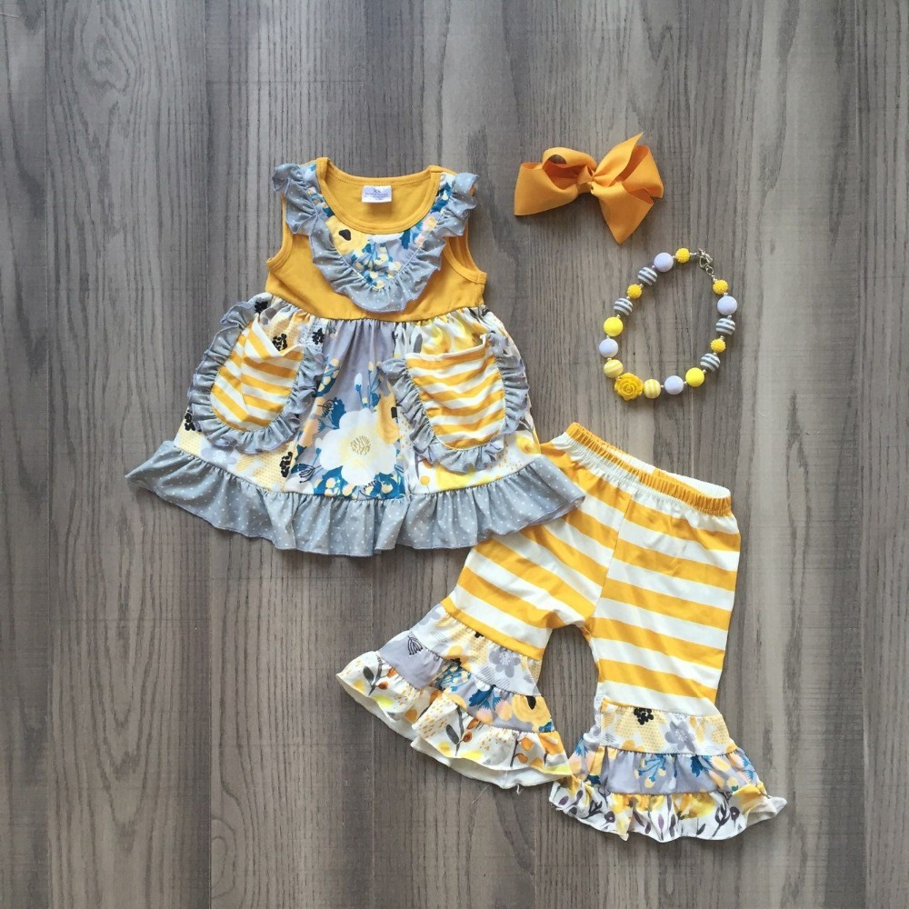 Baby Girls Summer Spring Yellow Adn Coral Floral Outfits With Yellow White Stripe Pants Outfits Boutique Sets With Accessories