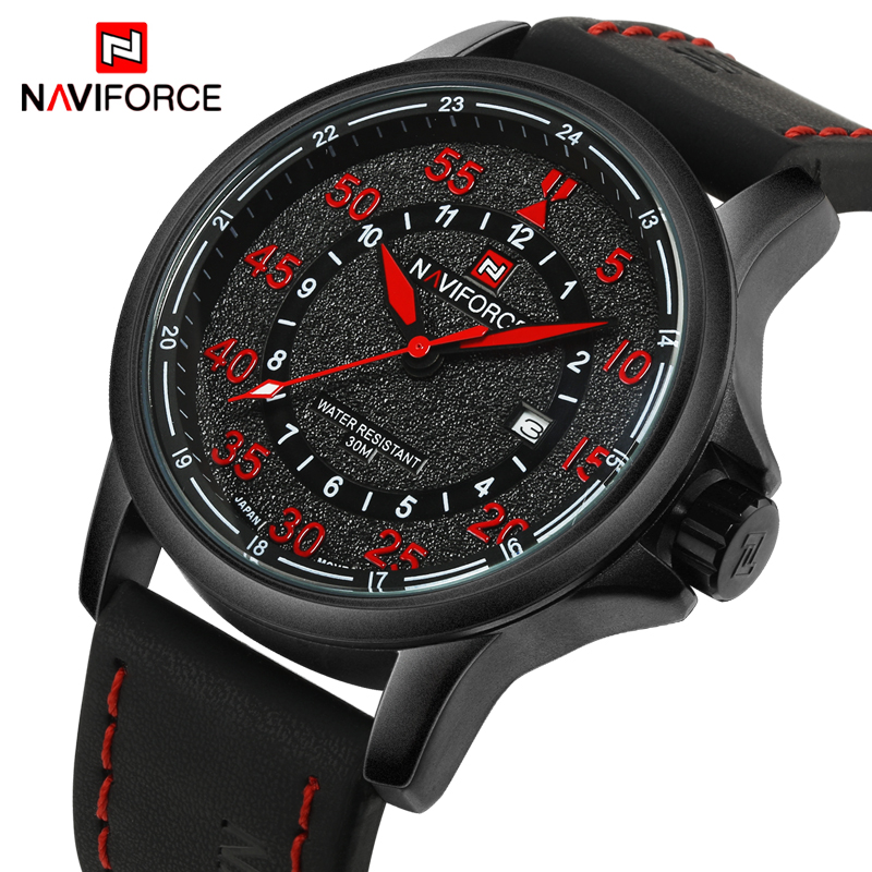 NAVIFORCE Luxury Brand Men Casual Watches Men's 3ATM Waterproof Quartz Watch Men Date Clock Man Leather Army Military Wristwatch naviforce luxury brand fashion sports watches men s waterproof quartz wristwatch men date clock man leather army military watch