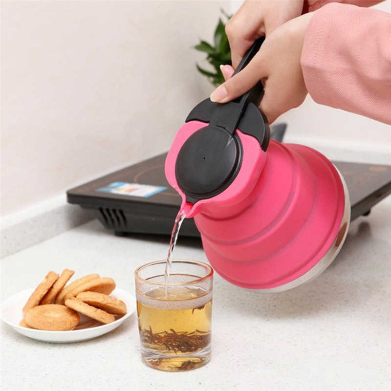1.5L Portable Folding Silicone Water Kettle Water Pot Outdoor Camping Travelling Hiking Kitchen Tools Tea Coffee Kettle