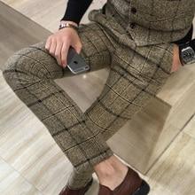 Качественные мужские тонкие клетчатые повседневные брюки, модные шерстяные Костюмные брюки, мужские деловые офисные брюки, повседневные мужские брюки