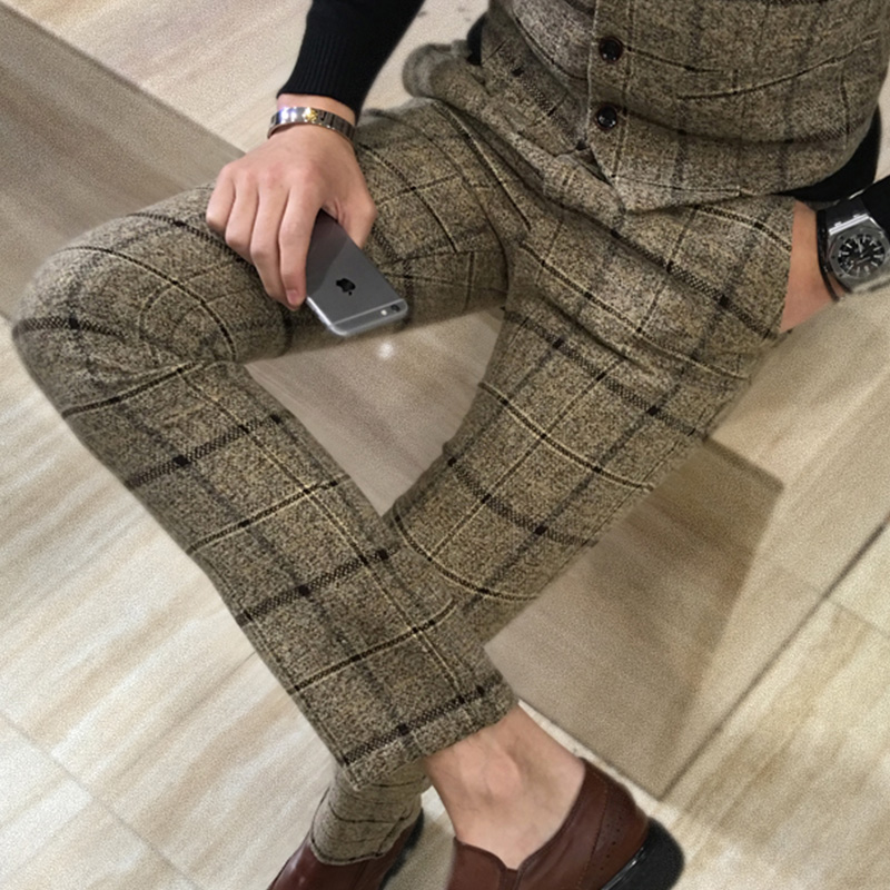 Quality Men's Slim Plaid Casual Pants Fashion Boutique Woolen Suit Pants Men's Business Office Trousers Social Casual Men Pants