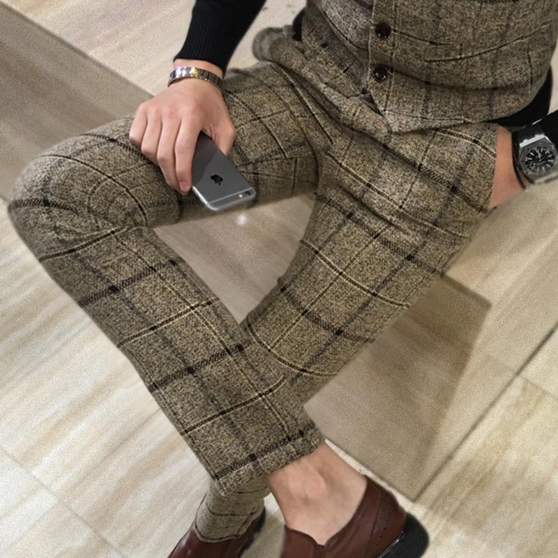 Quality Men's Slim Plaid Casual Pants Fashion Boutique Woolen Suit Pants Men's Business Office Trousers Social Casual Men Pants