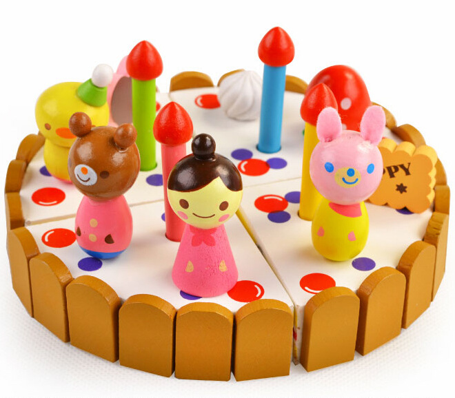 BOHS Strawberry Cutting Cake Wooden Chocolate Mini Birthday Pizza Party Christmas Gift Toys /13.3 Cm