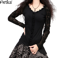 Artka Women S Autumn Vintage Style Handmade Crochet Black Long Sleeve Lace Blouse SA10631Q