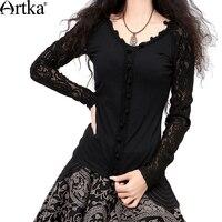 Artka Women S Autumn Vintage Style Handmade Crochet Black Long Sleeve Lace Blouse SA10631Q