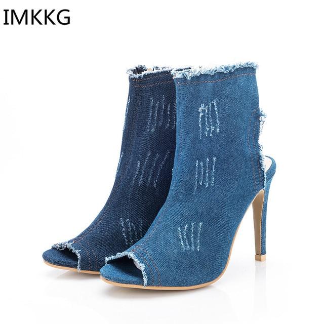 0c80efebd Mode bleu Denim femmes minces talons hauts Peep Toe chaussures femme Zipper  été bottines décontracté femmes pompes g016