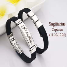 Sagittarius Bracelet Bangle Jewelry Men Wristband Masculine Stainless-Steel Vintage Silicone