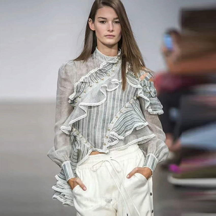 HIGH STREET New Fashion 2018 Designer Runway Tops Women s Long SLeeve Striped Asymmetrical Ruffles Blouse