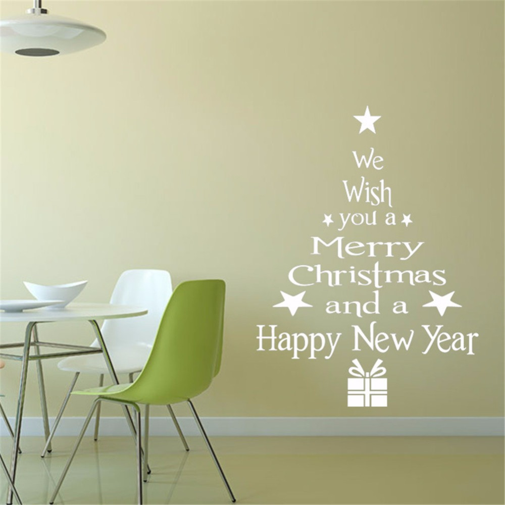 Yanqiao Merry Christmas Tree Living Room Bedroom Shop Window Glass Wall Sticker Home Office Decorative