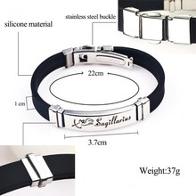 Stainless Steel Clasps Zodiac Sign Silicone Bracelet