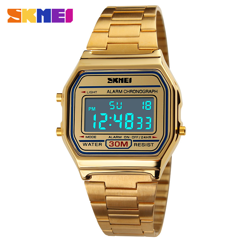 SKMEI Luxury Casual Men Watch Fashion Sports Digital Wristwatches 30m Waterproof Chrono Stainless Steel Men's Watches Relojes