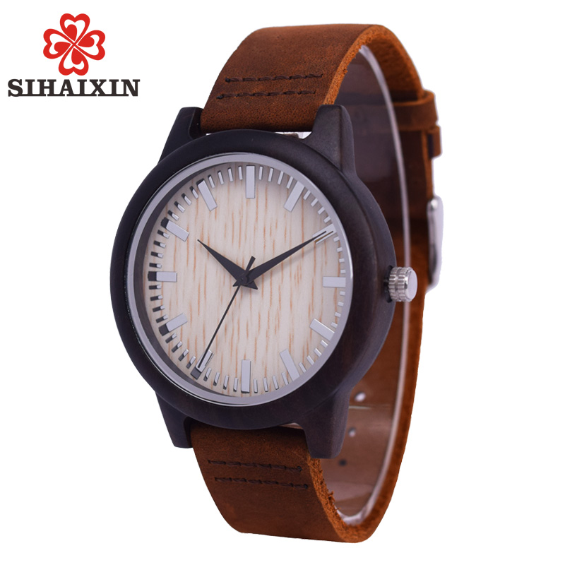цены SIHAIXIN Minimalist Wooden Watch Male Bamboo Clock Leather Men White Quartz Watches As Man Luxury Gift Box Accept OEM Customize