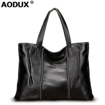 AODUX Large Capacity 2 Size 9 Color Genuine Real Leather Women Shoulder Bags Handbags Ladies Satchel Shopping Bag Purse Sack