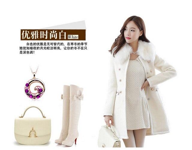 Новый Корейский Стиль Моды Женщины Зимнее Пальто Съемные Воротники Средней Длины Чистый цвет Ткань Пальто Элегантных Женщин Теплое Пальто G1663