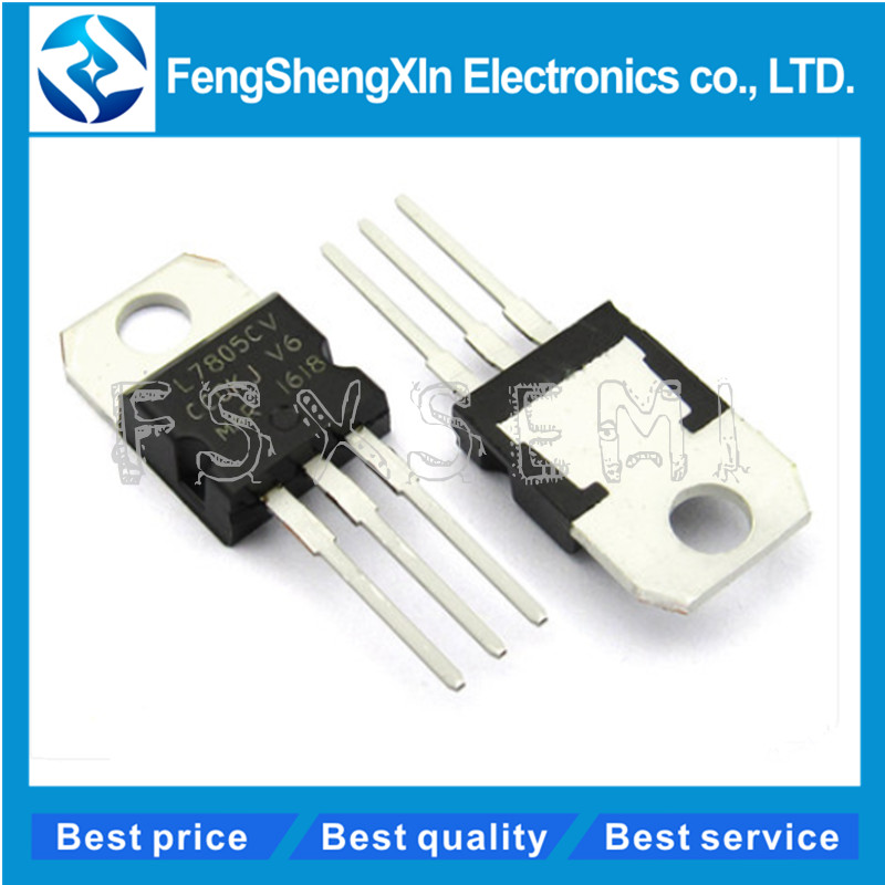 10pcs/lot New L7805CV Voltage Regulator TO-220 L7805 7805 5V POSITIVE VOLTAGE REGULATORS(China)
