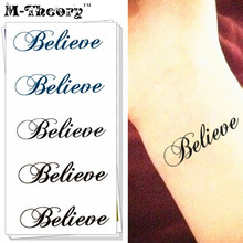 M-Theory Temporary Tattoos Henna Body Art English Word -Believe- Flash Tatoos Sticker 10.5x6cm Sexy Swimsuit Dress Makeup Tools