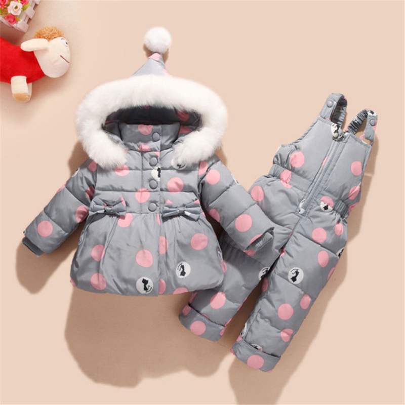 Thicken Baby Winter Overalls Coat Snowsuit Clothes Duck Down Winter Baby Suit Bowknot Polka Dot Hoodies Jacket and Jumpsuit Set цена