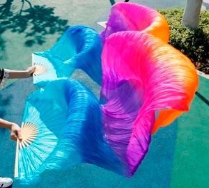 Image 2 - Хит 2018, высококачественные женские шелковые вуали для танца живота, 100% натуральный шелк, радужная цветная вуаль, одна пара (2 шт.)