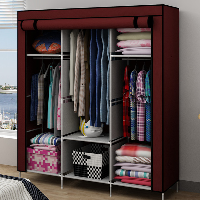 Simple simple wardrobe cabinet hanging clothes storage ...