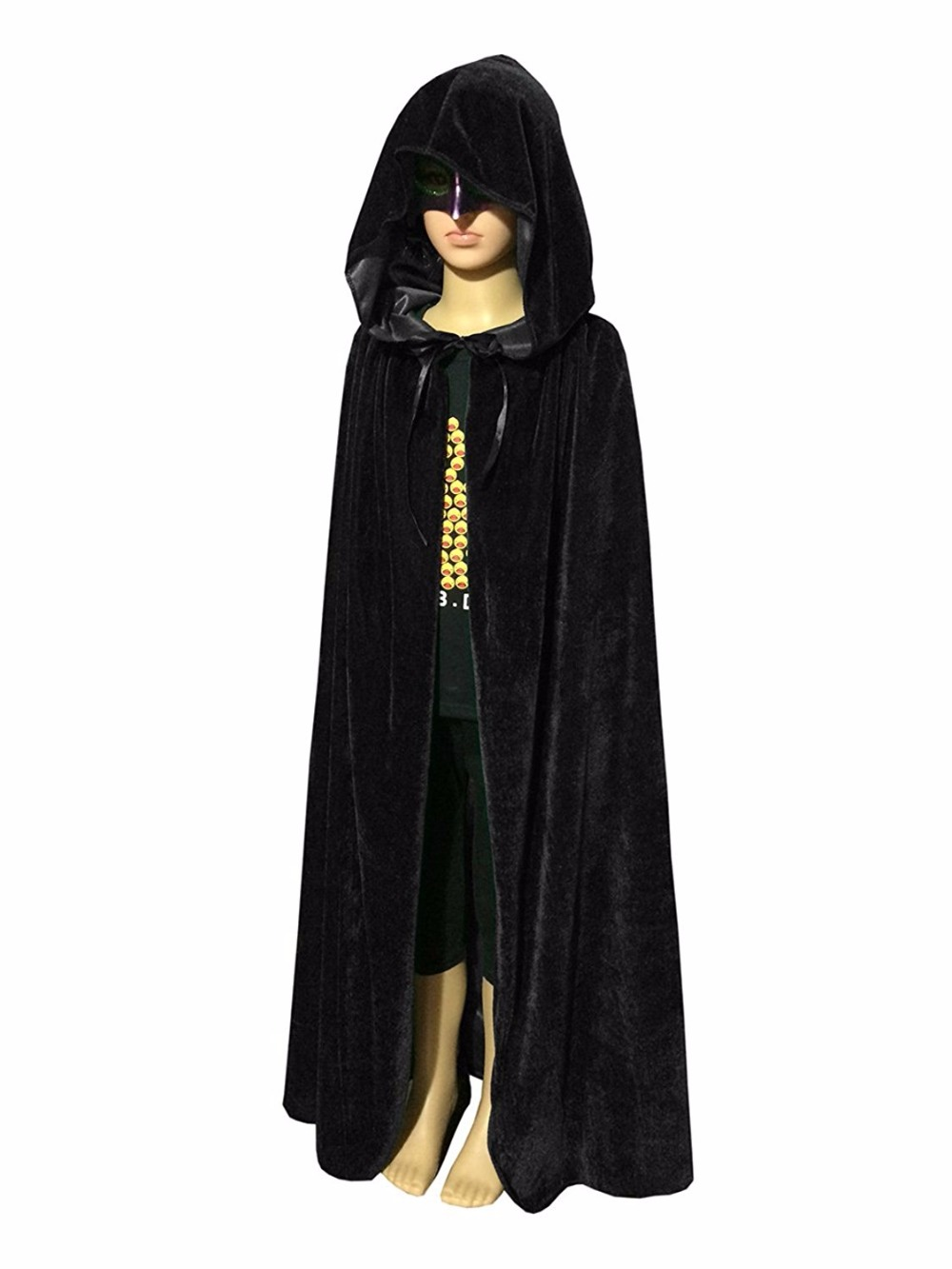 Halloween Hooded Cloak Wicca Robe Medieval Witchcraft Cape Costume Accessory Y