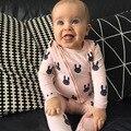 Mamelucos del bebé Niños Niñas ropa de manga larga de conejo de dibujos animados niño embroma el mameluco recién nacido ropa roupas de bebe