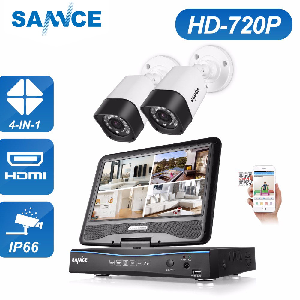 SANNCE 4CH CCTV System 720P HDMI TVI AHD CCTV DVR 2PCS 1.0 MP IR Outdoor Weatherproof Security Camera Surveillance Kit 1TB sannce 4 channel 720p dvr cctv camera system 2pcs 1200tvl 720p ir outdoor security camera system surveillance kit 1tb hdd