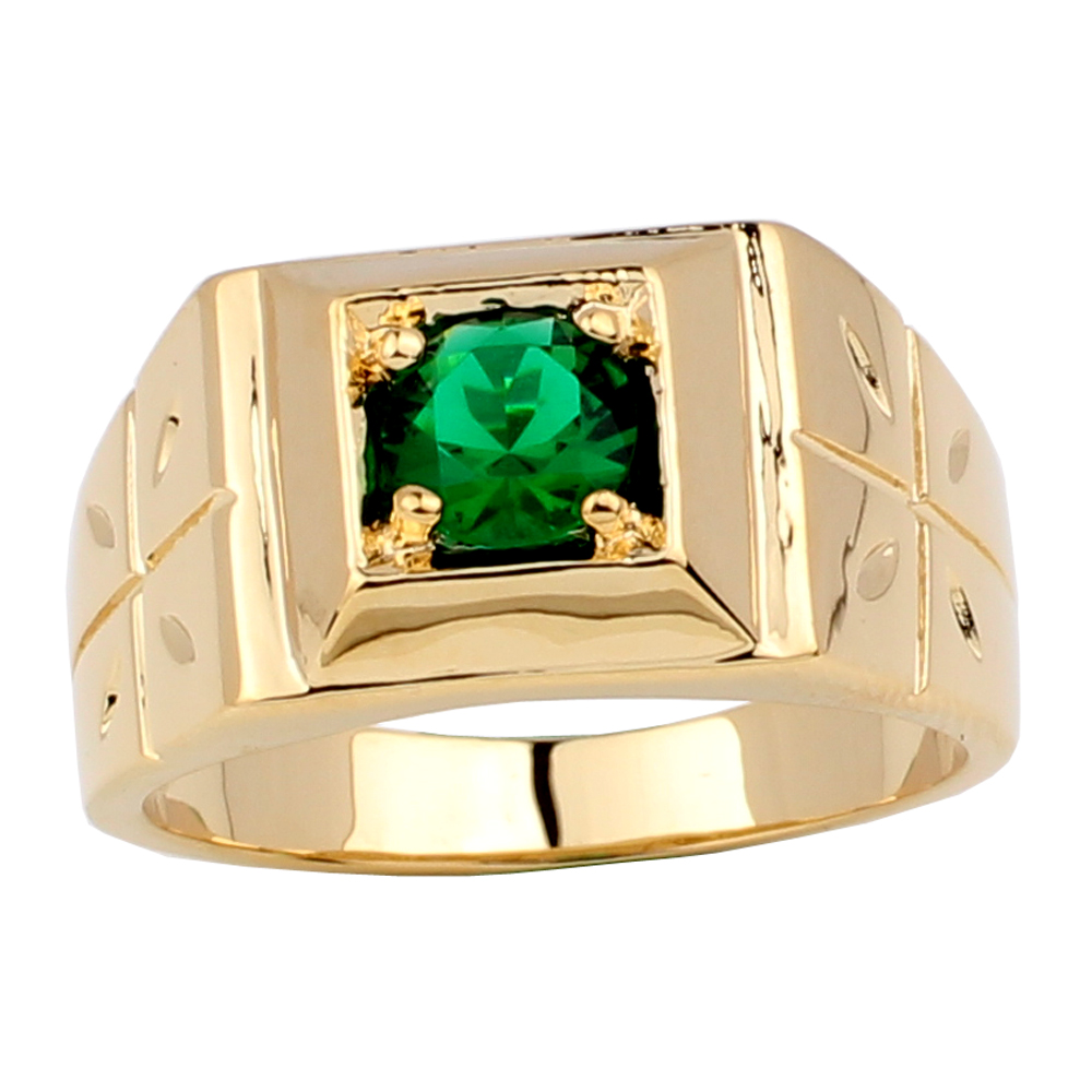 Fashion Jewelry Mens Gold Color Ring Cross Carve on Side 6mm Round Stone Nice Finger Wear R510