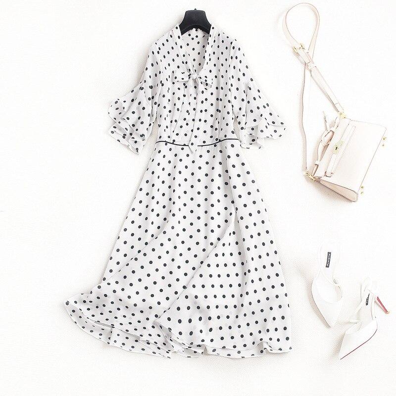 Ukraine Summer Dress Vestidos Dresses 2018 New V Collar Tie High Waist Lotus Sleeves Polka Dot OL Chiffon Dress Plus Size polka dot bardot neckline tie waist dress