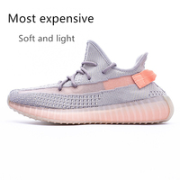 HKCP Summer shoes Breathable yeezys air 350 boost v2 Real Soft and light Runing shoes Men Women Black lace up sport shoes Unisex