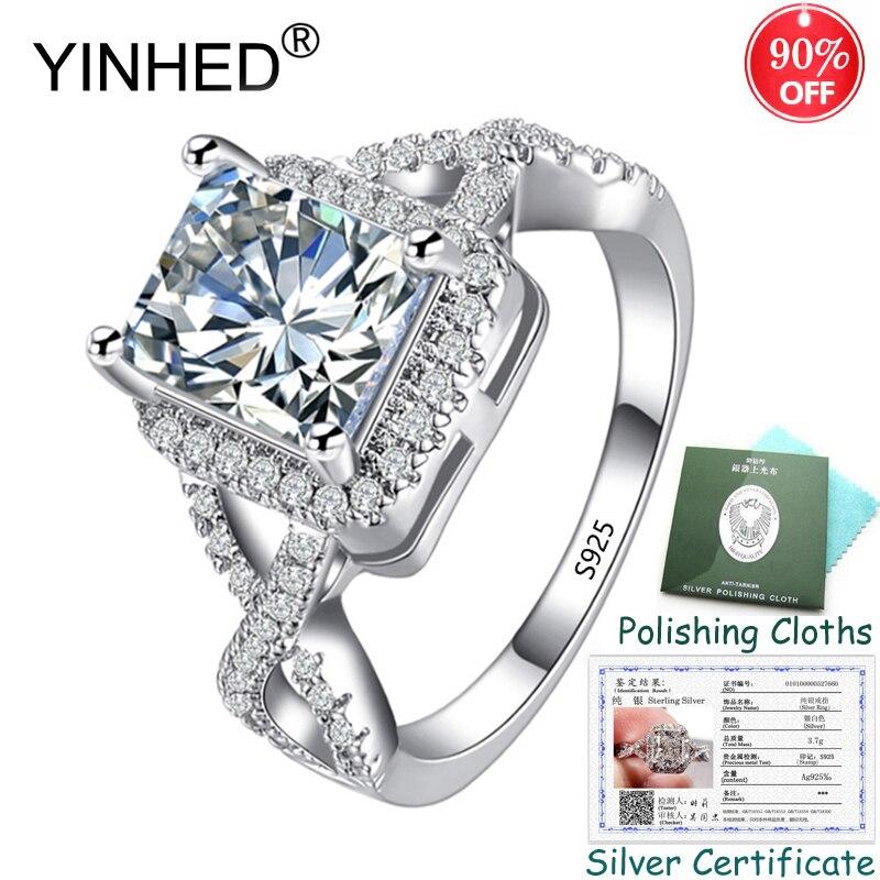 Enviado Certificado de Prata! YINHED Princesa Corte AAA Zircon Anéis de Casamento para As Mulheres 2.5ct Genuine 925 Anel de Prata Esterlina ZR557