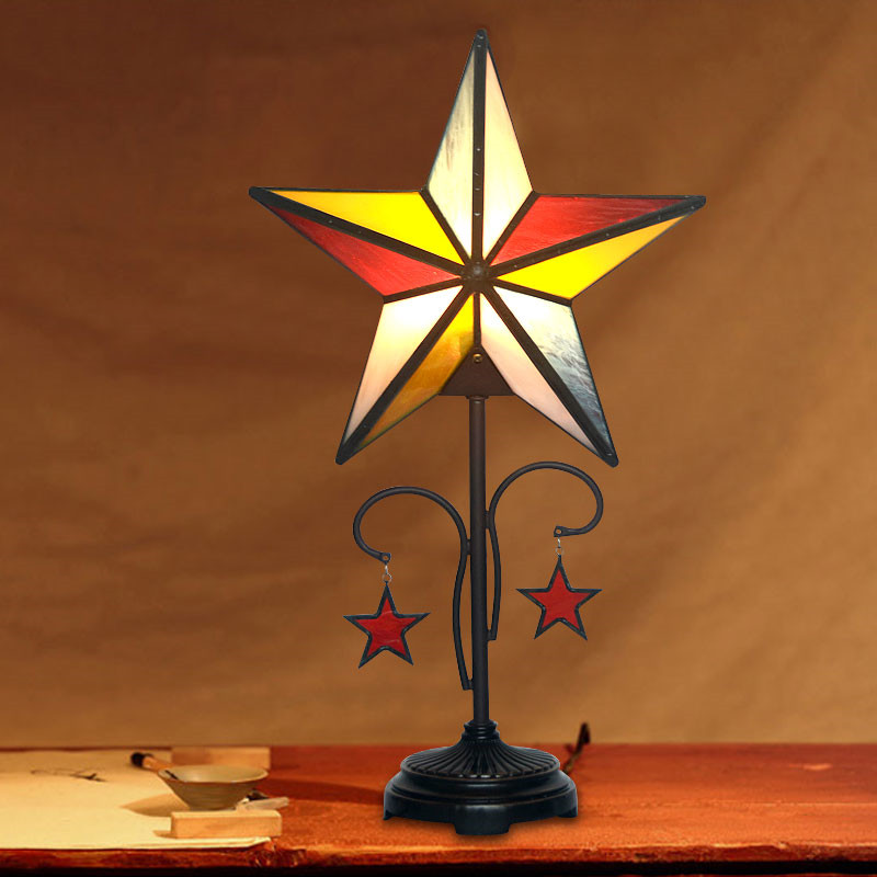 Antique Vintage Stained Glass Star Children Kids Adult Room Study Bedside Desk Table LED Night Light Lamp Decorative Lighting