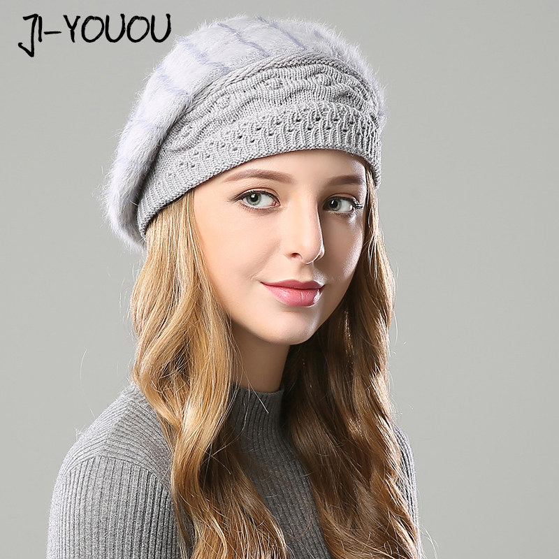 2019 Winter Warm Hat Girls Mask Knitted  Hats For Women Beanie Hats Double Layer Rabbit Hair Material Cap