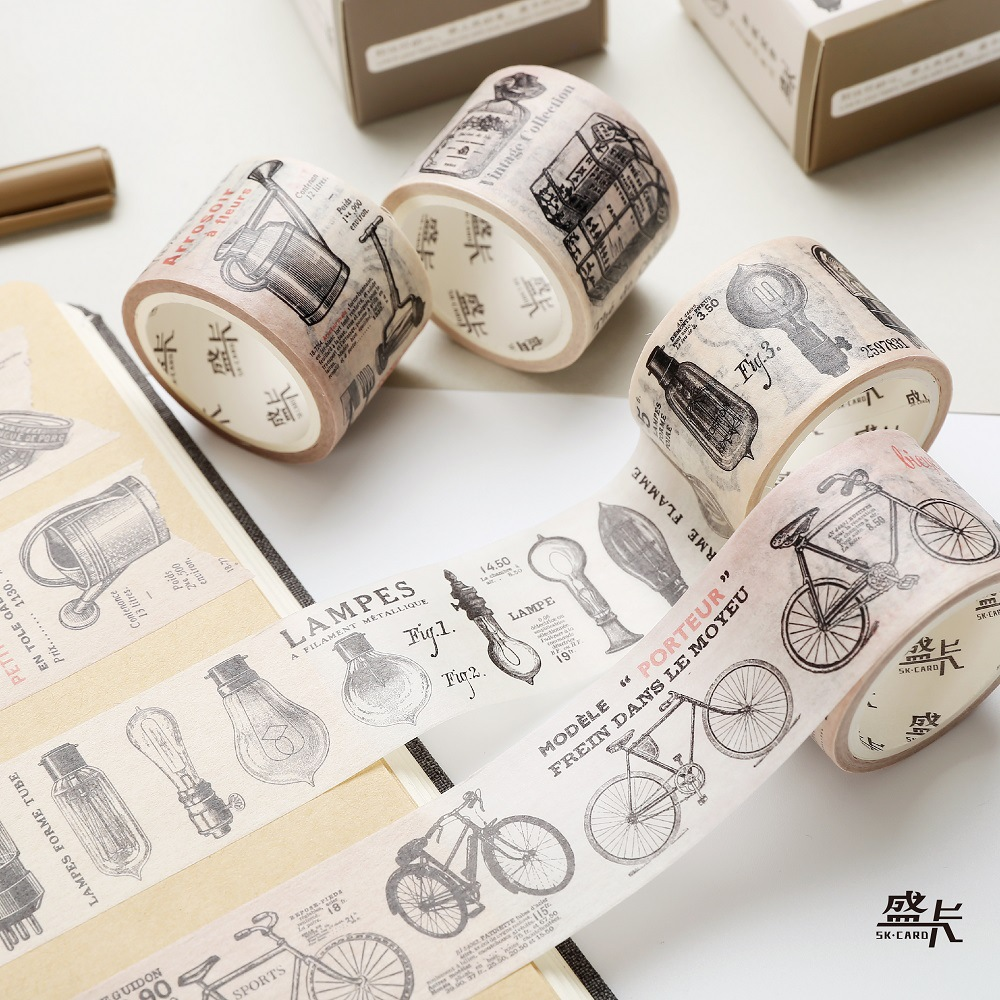3 cm Wide Bicycle Light Bulb Garden Tools Canned Washi Tape Adhesive Tape DIY Scrapbooking Sticker Label Masking Tape