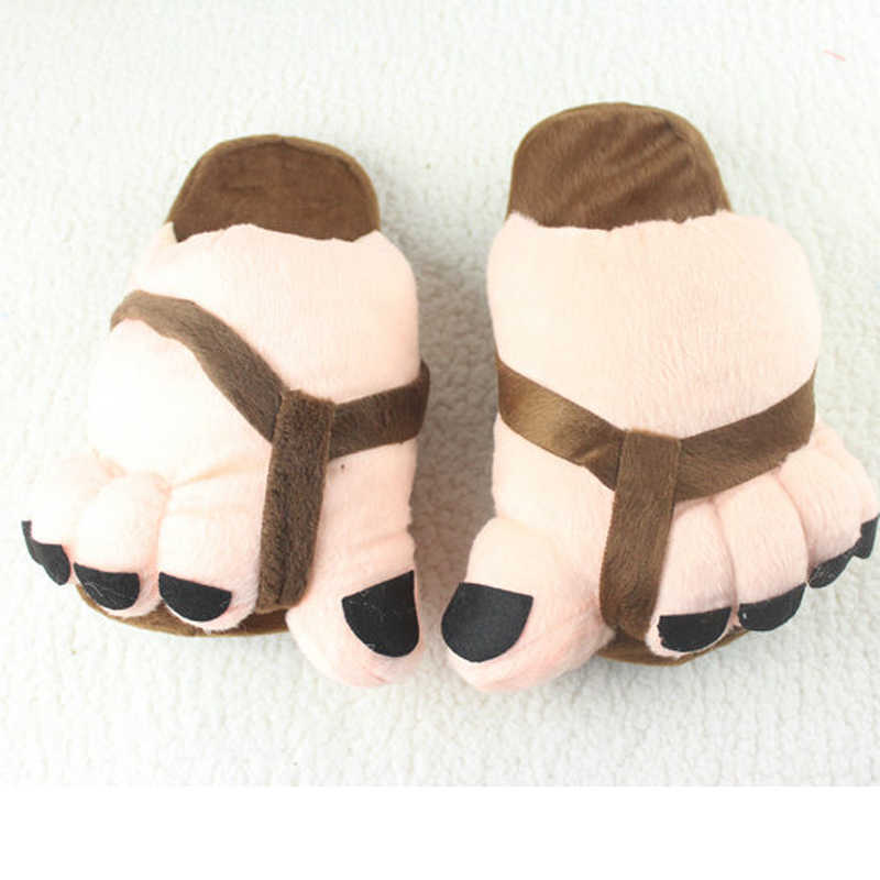 04468a6abc95e Sole 26CM Winter Cartoon Toes Plush Claws Warm Soft Big Feet Cotton  Slippers Women Naked Heel Indoor Slipper Shoes for Female