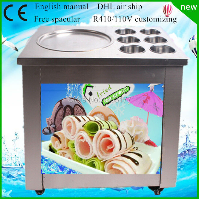free ship New round 110V 220V CE electric fry ice cream font b machine b font